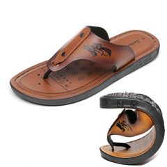 Men's fashion slippers Non-slip Pinch toe Leatherwear Comfortable and breathable Sandals Beach shoes Leatherwear Size44, actual 43