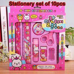 10pcs/Stationery set Child Christmas gift box Pencil Rule Sharpener Scissors Solid glue bargains Pink 16*14cm