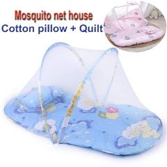 Portable Folding Baby Mosquito Net Include Pillow and Cushioned back Not be afraid of sleeping blue 92X48X40cm