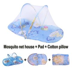 Portable Folding Baby Mosquito Net Include Pillow+Mattress Not afraid of sleeping Bargains Carpet blue 92X48X40cm