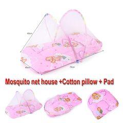 Portable Folding Baby Mosquito Net Include Pillow+Mattress Not afraid of sleeping Bargains Carpet Black Week Christmas gift pink 92X48X40cm