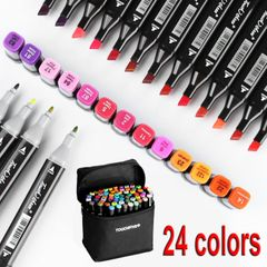 24 colors/set Double-Headed Water colors Pen Easy to wash Opening gift Office product 24 Colors