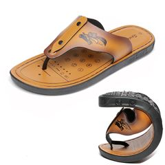 Men's fashion slippers Non-slip Pinch toe Artificial leather Comfortable Sandals Beach shoes Brown Size41, actual 42