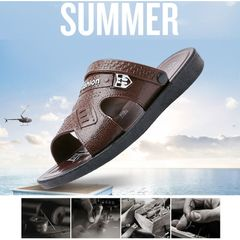 Men's sandals durable Slippers and sandals Dual purpose yards is complete Brown Size41, actual 42