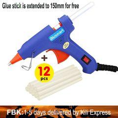 Upgraded Hot Glue Gun+12 Pcs Lengthened Melt Glue Sticks Extended to 150mm for free Christmas Decor Safe and nontoxic Bargains glue gun + 12pcs glue sticks one size