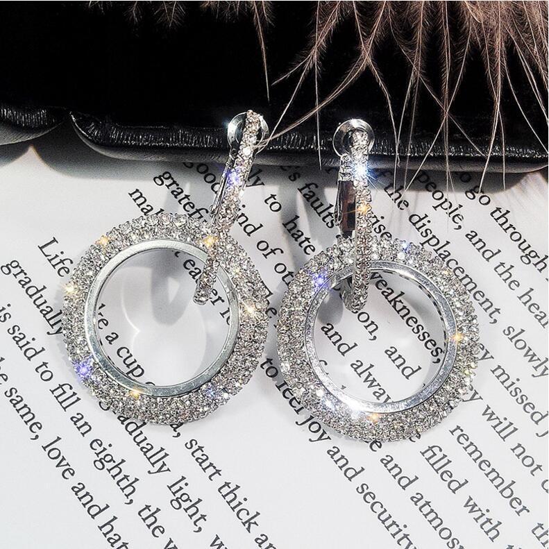 d373ccdedea90 Kirin Jewellery 925 silver needle water drill circle long style earrings  eardrop exaggerated silver normal