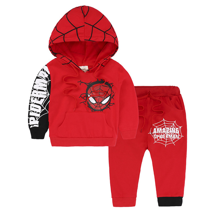 MONDAY Children's Day Gift 2 Pcs Spider-Man Pullover Hoodies and Pants Boys Clothes Kids Outfits red 110