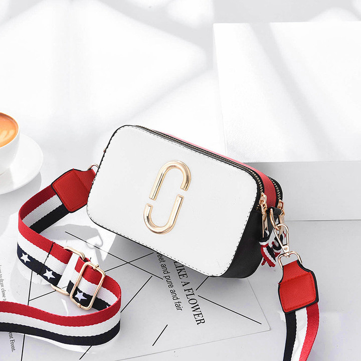 MONDAY Elegant Shoulder Bag with 2 Straps for Girls Students Mini Bag Fashion Leather white 21*6.5*13cm