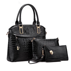 MONDAY 3 Pcs Quality Handbags Alligator Pattern Fashion Tote Bag Wallet and Clutch Bag black 32*27*12cm