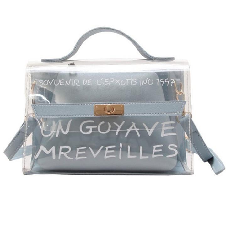 MONDAY Transparent Clear Handbags Candy Color Sweet Shoulder Bag for Girls blue 22.5*16*10.5cm
