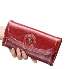 Monday Women's Vintage Leather Wallet  RFID Blocking Wallets with Sunflower Leather Purse Long red 11.5*9.5*3cm