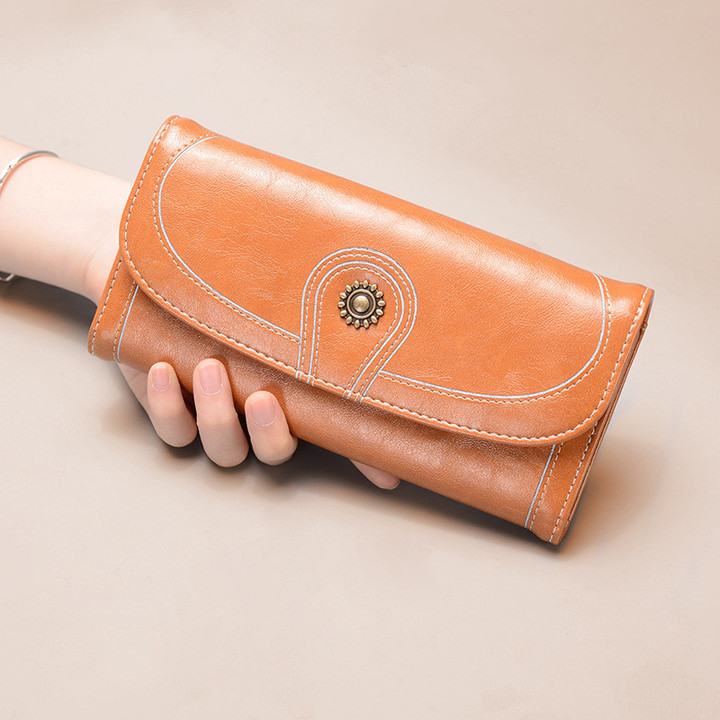 Monday Women's Vintage Leather Wallet  RFID Blocking Wallets with Sunflower Leather Purse Long Brown as description