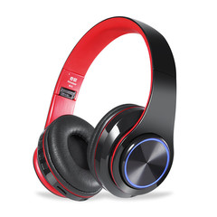 MONDAY Wireless and Wired Headset Bluetooth Earphones Support Memory Card MP3 Player black red