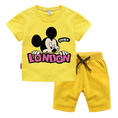 MONDAY 2 Pcs 100% Cotton Kids Clothing Set Unisex Short T Shirt and Pants with Mickey Mouse Print yellow 90 100% cotton
