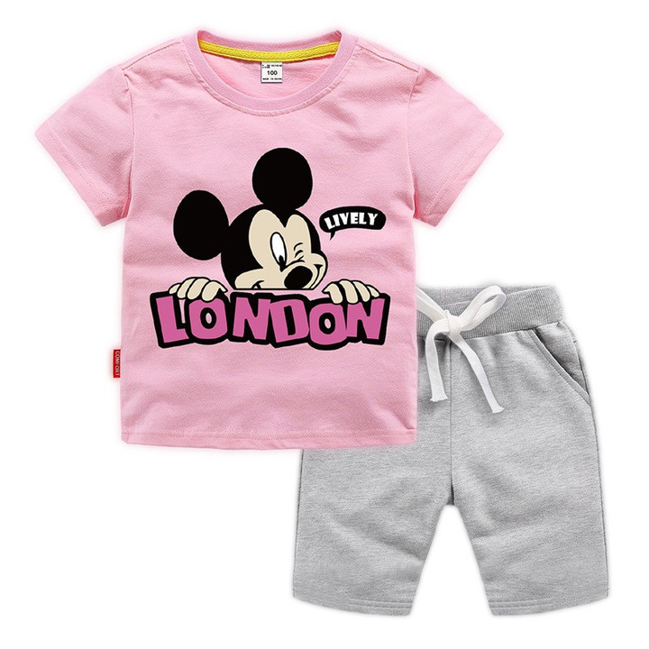 MONDAY 2 Pcs 100% Cotton Kids Clothing Set Unisex Short T Shirt and Pants with Mickey Mouse Print pink 140 100% cotton