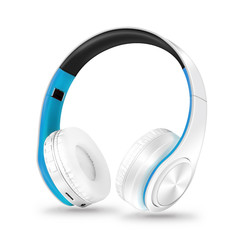 MONDAY Bluetooth Headset Wireless Earphones with Microphone Active Noise Cancelling white blue