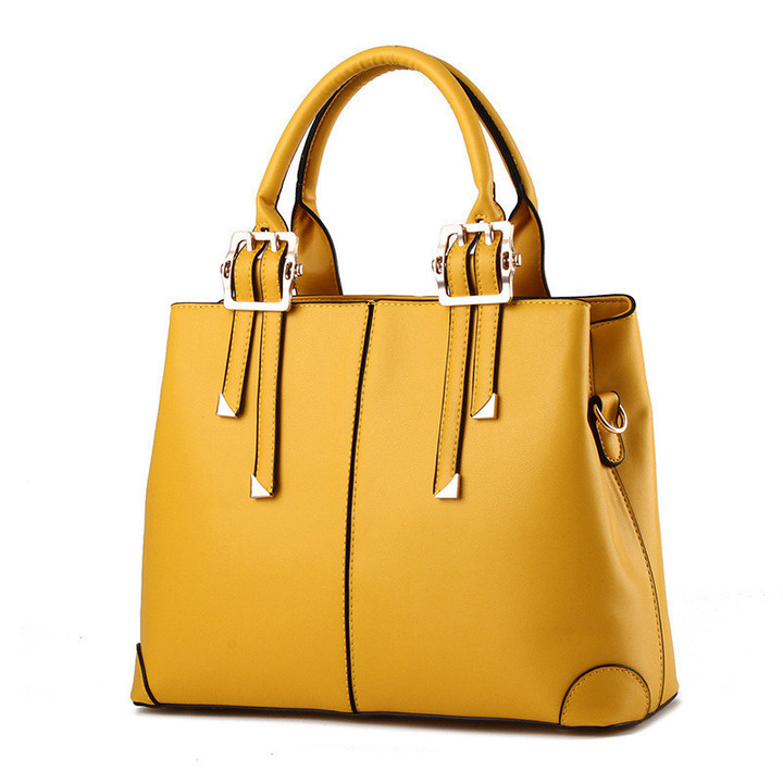 MONDAY Womens Tote Bag Large Leather Handbag 8 Colors with Top Handle and Strap yellow 32*25*12.5cm