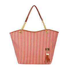 MONDAY Canvas Shoulder Bag Women Bags with Black and White Stripe Large Book Bag for Girls Students red 31*10*32cm
