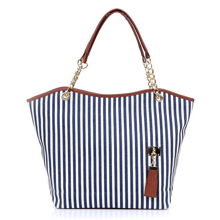 MONDAY Canvas Shoulder Bag with Black and White Stripe Large Book Bag for Girls Students navy 31*10*32cm