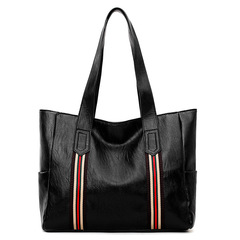 MONDAY Women's Vintage Style Soft Leather Work Tote Large Shoulder Bag for Lady Leather Bags black with red 35*29*10cm