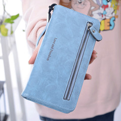 MONDAY Ladies Clutch Bag Leather Wallet Female Long and Large Purse light blue 19*9.5*3cm