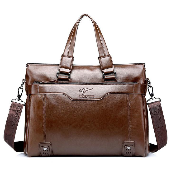 MONDAY Mens Leather Briefcase and Attache Large Handbag and Shoulder Bag khaki 39*8*30*12cm