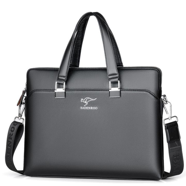 MONDAY Leather Briefcase Shoulder Laptop Business Bag for Men black 37*5.5*28cm