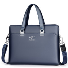 MONDAY Leather Briefcase Shoulder Laptop Business Bag for Men navy 37*5.5*28cm