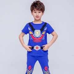 MONDAY Children's Gift 2 Pcs Boys Clothes Set Armor Hero Shirt and Long Pants for Kids navy 100 cotton