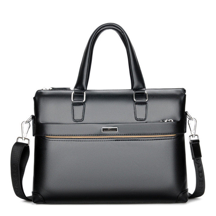 MONDAY Father's Gift  Mens Briefcase Leather Business Laptop Bag Handbags black 35.5*5*28cm