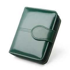 MONDAY Women Short Wallet Small Handbag Two Fold Coin Purse for Students green 11*3.5*9cm