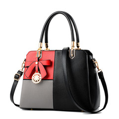 MONDAY Womens Tote Bag Assorted Colors Leather Handbag with Bowknot Pendant for Ladies red grey black 31*23*13cm