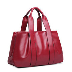MONDAY Soft Tote Bag PU Leather Top Handle Satchel Handbags for Mummy Womens Shoulder Bag wine red 39*24*14cm