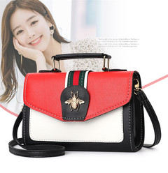 MONDAY Girls Handbag with Metal Bee Leather Shoulder Bag Hasp for Women red 20*7*14cm