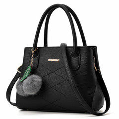 MONDAY Fashion Women Handbags Fuzzy Ball PU Leather Totes Bag  Shoulder Bag Lady Simple Style black 28*21*13cm