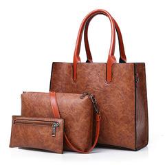 MONDAY 3 Pcs Fashion Handbags Set Tote Bag Shoulder Bag and Wallet Vintage Style brown 31*12*16cm