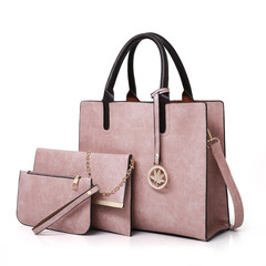 MONDAY 2019 New Women Bags Set 3 Pcs Leather Handbags Large Tote Bags with Maple Leaf Pendant pink 32*12*27cm