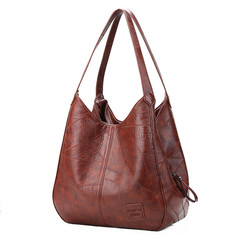 MONDAY 2019 Hobo Bags Women Leather Handbags Female Shoulder Bags Lady Tote Soft Bag Vintage Bags brown 33*12*32cm