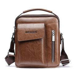 MONDAY Mens Bags Messenger Handbags Vintage Leather Business Bags for Men khaki 20*6*24cm
