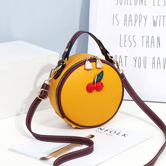 MONDAY Round Handbag with Cherry Decoration Double Zippers Bag for Women Ladies Shoulder Bag yellow 18*8*18cm