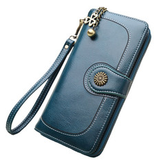 Monday Women's Vintage Leather Wallets with Sunflower Retro Purse Long with Strap navy blue 19*9*3.5cm