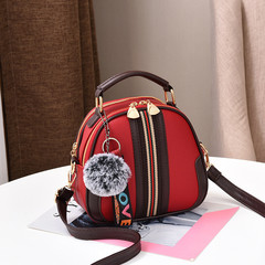 MONDAY Ladies Cute Handbag with Furry Ball Kilimall Anniversary 5th Promotion Leather Shoulder Bag red 20*11*19cm