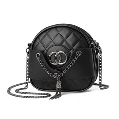 MONDAY Girls Small Sweet Cute Handbag Mini Shoulder Bag with Chain Metal Strap Leather Bag black 16*5*16cm