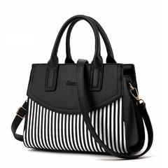 MONDAY Womens Black and White Stripe Leather Handbag Top Handle Shoulder Bag Tote Bag for Ladies black 29*22*13cm