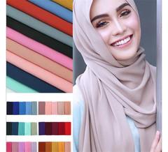 MONDAY 2 Pcs Women Chiffon Head Scarves Muslim Scarf Hijab Plain Silk Shawls Head Wrap Muffler #1 navy