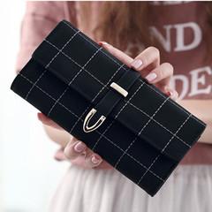 MONDAY Womens Plaid Leather Wallet Long Clutch Bag Buckle Handbag for Ladies black 18*9*3cm