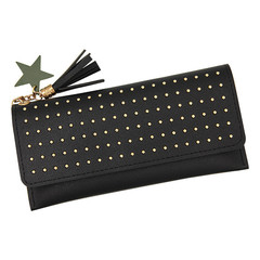 MONDAY Long Soft Thin PU Wallet for Lady with Rivet Women Hasp Purse with Star and Tassel Pendant black 19*9.5*2cm