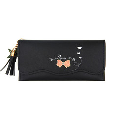 MONDAY Long Wallet Bowknot Printed Cute Womens Purse with Tassel Star Decor Bag black 19*9.5*2cm