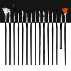 MONDAY 15Pcs Nail Art Brush Set Nail Gel Apply Pen Brushes Drawing Dotting Pen Fan Brush Kit black