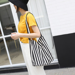 MONDAY Stripes Canvas Bag Large Soft Women Shoulder Bag Crossybody Bookbags with Long Strap black and white striped 28*32*12cm